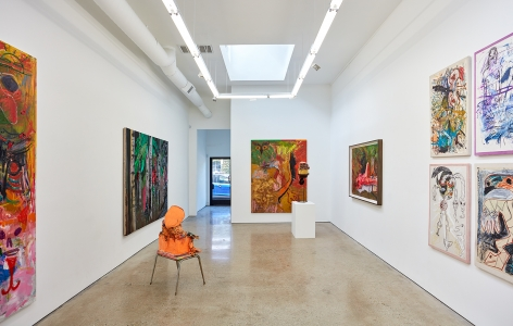 Installation View 1 of Aidas Bareikis, Kim Dorland & Bill Saylor (June 25, 2016 – August 6, 2016). Nino Mier Gallery, Los Angeles, CA