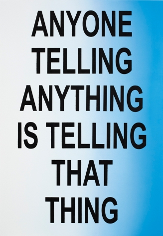 Eve Fowler, ANYONE TELLING ANYTHING IS TELLING THAT THING, 2015. Acrylic and screen print on canvas, 69 x 48 inches, 175.3 x 122 cm (EF15.014)