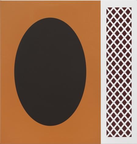 Thomas Wachholz, Tobacco, 2019. red phosphorus and acrylic on canvas, 43.3 x 41.3 x 1.4 in, 110 x 105 x 3.6 cm (TW19.007)