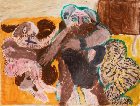 Raynes Birkbeck, Franz and the Crew in France, 2019. Oilstick and acrylic on paper, 18 x 24 in, 45.7 x 61 cm (RBI20.002)