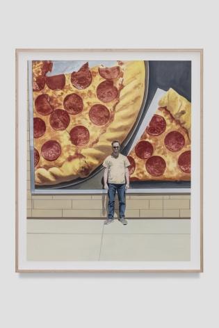 Jake Longstreth Gas Station Pizza, 2021 Oil on paper 22 x 18 in (unframed) 55.9 x 45.7 cm (unframed)  24 1/4 x 20 1/2 inches (framed) 61.6 x 52.1 cms (framed) (JLO21.028)