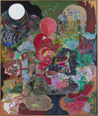 Michael Bauer Green Shelter & Moon, 2019 Oil, crayon, pastel and acrylic on canvas 73 x 61 in 185.4 x 154.9 cm (MB19.002)