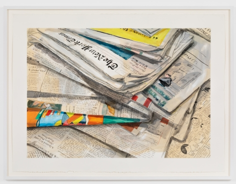 Rebecca Ness, Newspapers II, 2020. Gouache and pencil on paper, 22 x 30 in, 55.9 x 76.2 cm, 24 5/8 x 32 3/4 in (framed), 62.5 x 83.2 cm (RNE20.020)