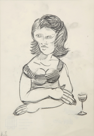 Ben Sledsens, Girl, 2014-2015, pencil on paper, artist frame, 18.3 x 14.9 in (46.4 x 37.8 cm), BSL15.001