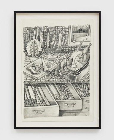 Nikki Maloof Kitchen with Knives Study, 2021 Graphite on paper 16 1/2 x 11 1/2 in (unframed) 41.9 x 29.2 cm (unframed) 19 x 14 x 1 1/2 in (framed) (NMA21.006)