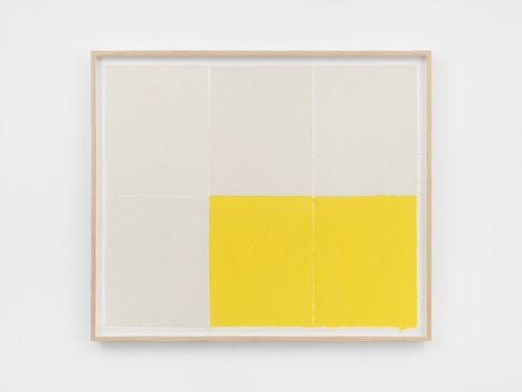 Ethan Cook Four whites, two yellows, 2020. Handmade pigmented paper 31 x 36 1/4 in, 78.7 x 92.1 cm (ECO20.018)