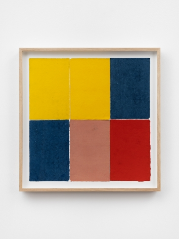 Ethan Cook, Two blues, two yellows, pink, red, 2020. Handmade pigmented paper 19 3/4 x 19 1/2 in, 50.2 x 49.5 cm (ECO20.054)