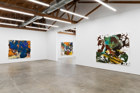 "Installation View of ""Dancing"", ""Zurück zur Angst"", and ""A Foot in Each Corner"""