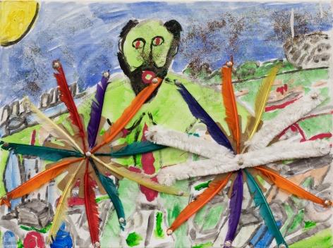 Raynes Birkbeck, Green God, 2018. Mixed media on canvas, 18 x 24 in, 45.7 x 61 cm (RBI20.014)