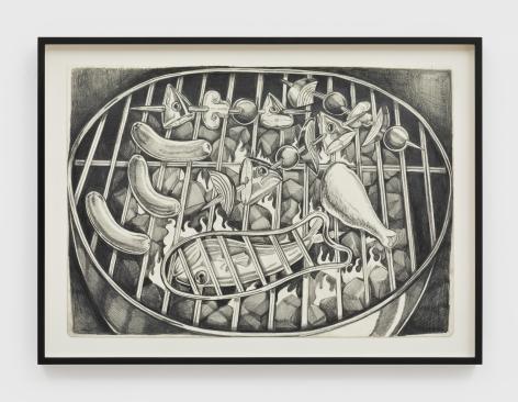Nikki Maloof Grill Study, 2021 Graphite on paper 11 1/2 x 16 1/2 in (unframed) 29.2 x 41.9 cm (unframed) 14 x 19 x 1 1/2 (framed) (NMA21.003)