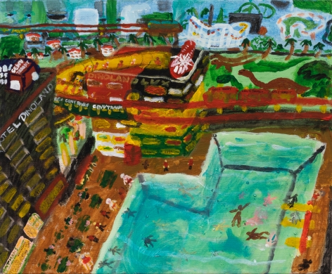Raynes Birkbeck, Dinoland Visitor's Center, 2020. Oil and acrylic on canvas, 20 x 24 in, 50.8 x 61 cm (RBI20.009)