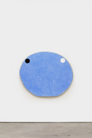 Otis Jones Large Blue with One White and One Black Circle, 2021 Acrylic on linen on wood 49 x 58 x 5 in 124.5 x 147.3 x 12.7 cm (OJO21.003)