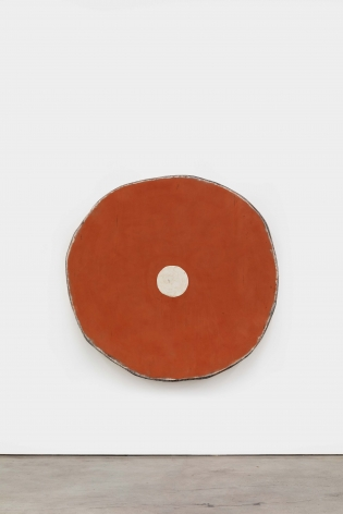 Red Oxide with Dirty White Circle, 2021 Acrylic on linen on wood 55 1/2 x 57 3/4 x 5 in 141 x 146.7 x 12.7 cm (OJO21.011)