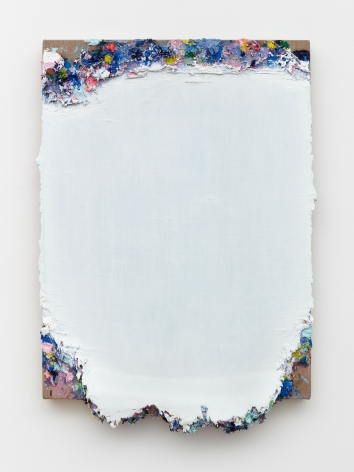 Andrew Dadson Untitled (Primary Scrape), 2021 Oil and acrylic on linen 22 1/4 x 15 1/8 x 2 3/4 in 56.5 x 38.4 x 7 cm (ADA21.012)