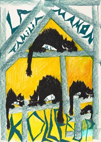 Bendix Harms, La Familia Mamon Kollerup, 2020. Wax crayon on paper, 27 1/2 x 19 3/4 in, 70 x 50 cm (BHA20.019)
