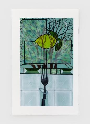 Marisa Adesman Growing Panes (Lemon), 2020 Oil on paper 9 x 5 1/4 in 22.9 x 13.3 cm (MAD20.004)