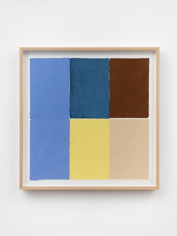 Ethan Cook, Two periwinkles, blue, yellow, brown, tan, 2020. Handmade pigmented paper 19 3/4 x 19 1/2 in, 50.2 x 49.5 cm (ECO20.051)