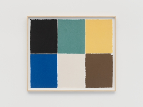 Ethan Cook Black, teal, yellow, blue, white, brown, 2021 Handmade pigmented paper 30 x 36 inches 76.2 x 91.4 cms (ECO21.018)