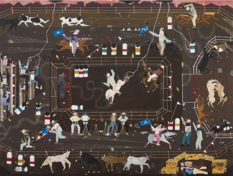 Andrea Joyce Heimer The Big Sky Rodeo Finals That Summer Were Marked By A Flash Lightning Storm, A Horse Fight, And My First Handjob In A Haystack., 2019 Acrylic on panel 60 x 80 in 152.4 x 203.2 cm (AJO19.002)