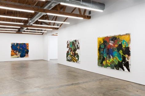 """Installation View of """"Dancing"""", """"A Foot in Each Corner"""", and """"One Afternoon"""""""