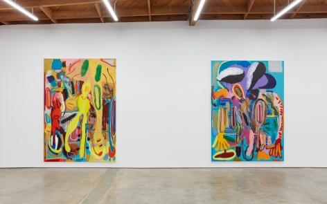 """Installation View of """"Abstraktes Bild Nr. 4710d"""", and """" Wer hat Dr. Pfeffer erfunden?"""""""