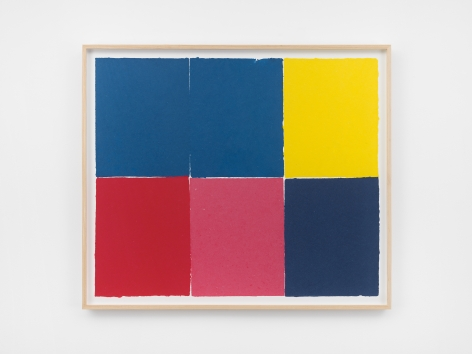 Ethan Cook, Three blues, red, pink, yellow, 2020. Handmade pigmented paper 31 x 36 1/4 in, 78.7 x 92.1 cm (ECO20.020)