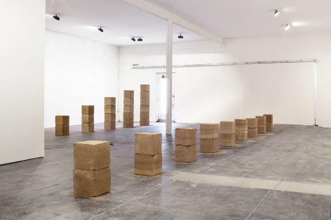 Ethan Cook 9 Stacks (Marfa), 2021 Rammed earth Overall Dimensions: 24 x 432 x 12 in 61 x 1097.3 x 30.5 cm  Individual Dimensions: 18 blocks - 12 x 12 in each (ECO21.041)