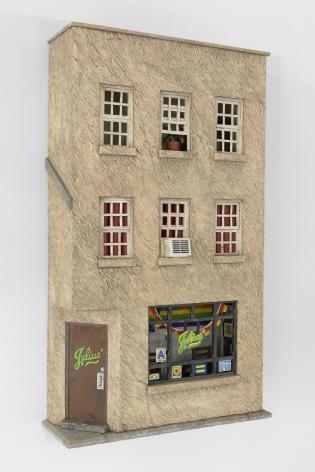 A foam recreation of Julius bar's exterior