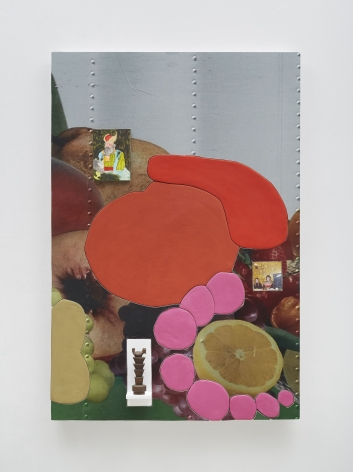 A photograph of a mixed media artwork that has a photograph of citrus fruit in the background, and blobs of red, pink, orange, and yellow on top of it. There are also small collaged pieces of paper that depict artworks.