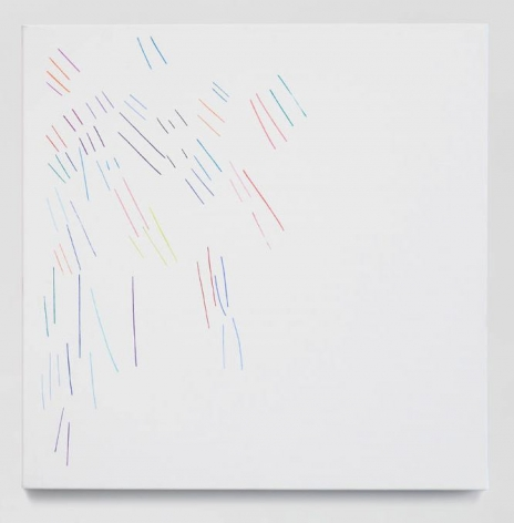A painting of short, multicolored lines radiating the top-left corner on a white background