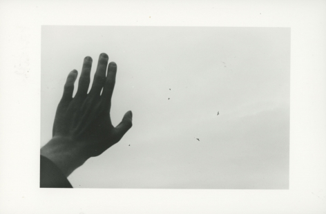A black-and-white photograph of a hand pressed against the sky with birds circling overhead