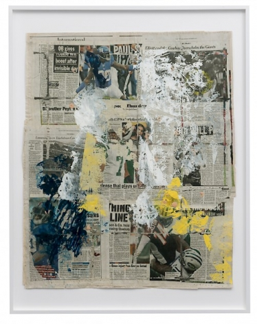 An assemblage of newspaper pages that depict sports stories. There are splotches of yellow, blue, white, and black paint throughout.