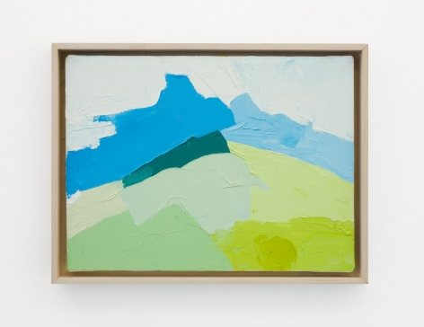 An abstract painting in blue, green, and white tones