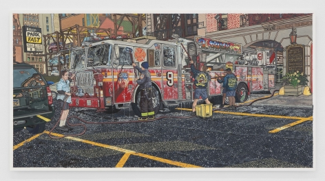 A painting of firefighters washing a firetruck on the street of NYC during the summer. There is water bubbly.