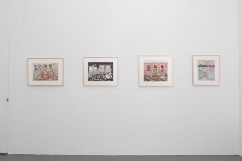 A photograph of four color drawings on a wall in the back office of the gallery. The contents are tough to specify from this distance.