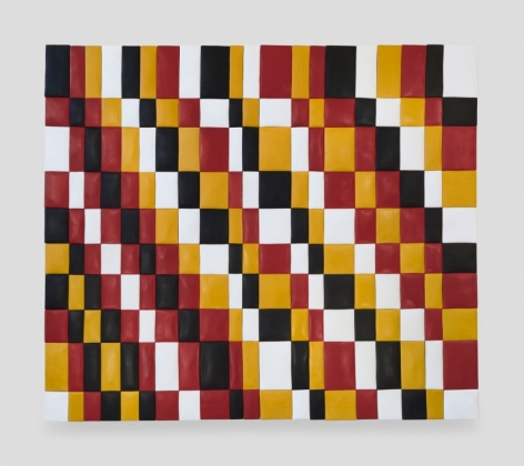 A composition of red, mustard yellow, black, and white colors in a checkerboard. Each color can be found in a diagonal of rectangles, connected at the corners.