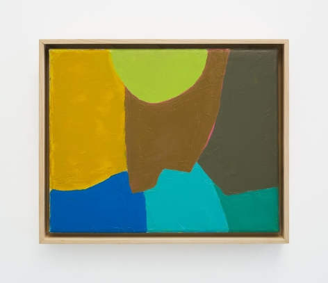 An abstract composition of yellow, blue, teal, sky blue, lime green, brown, and moss green. The shapes are all organic and irregular.