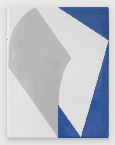 An abstract composition of two diamonds (grey, white) upon white and blue ground, shiny complexion
