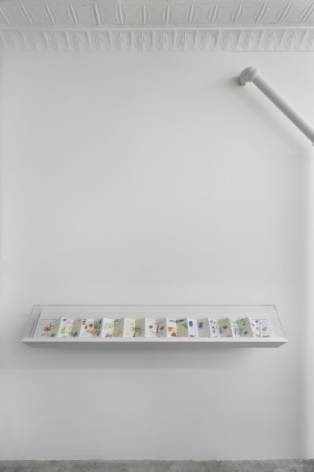 A photograph of the 124 Forsyth gallery, with 1 vitrines containing a leporello by Etel Adnan