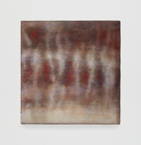 An abstract painting in tones of red, beige, white, and gry
