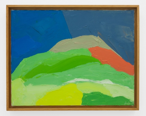 An abstract painting of a mountain in green, blue, and red tones