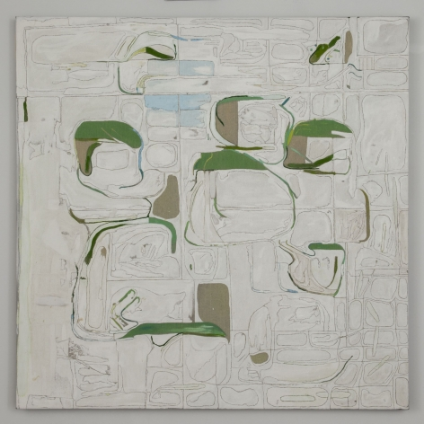 An abstract composition on a white canvas, predominantly with green and grey accents