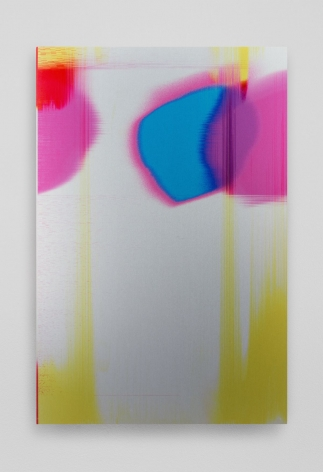 A print on aluminum where the bottom third is mostly white with areas of yellow striations moving vertically. In the top third are small circles in pink, blue, purple, and red.