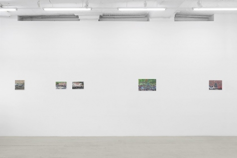 An installation image of 4 paintings by Nicholas Buffon hung on the wall