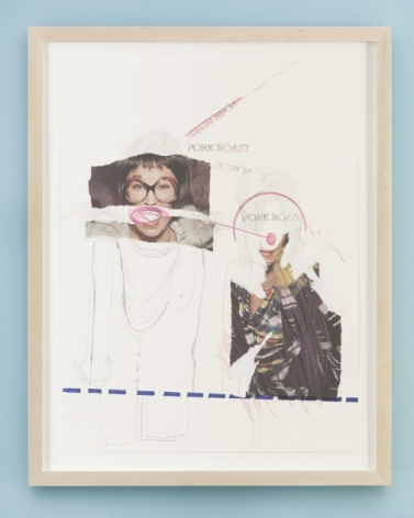 """A photo collage that has a blue dotted line along the bottom fifth of the work. There is a cut-out of a woman in glasses (just eyes and hair), and another mouth. She has her clothing drawn in pencil. At right is a photograph of an outside. The words """"PORK ROAST"""" are written near each figure's head."""