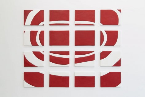 An image made up of 16 panels in red and white, depicting concentric circles.