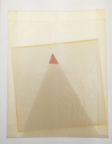 A triangle and square made of tracing paper, nestled inside a wax bag so you can see the silhouettes of the shapes