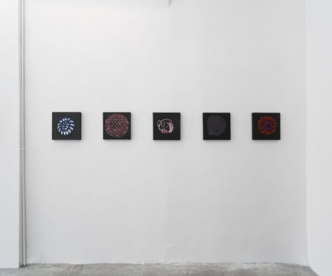 A photograph of 5 square paintings installed on a white wall