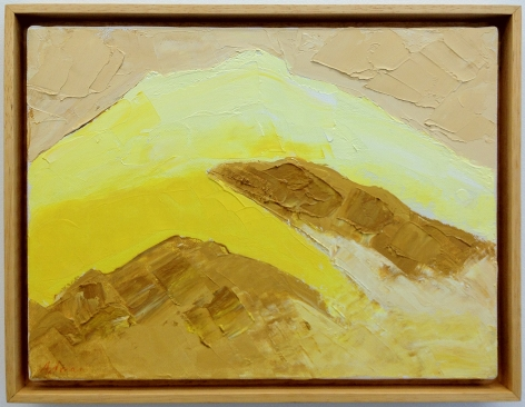 A yellow and beige mountainous painting