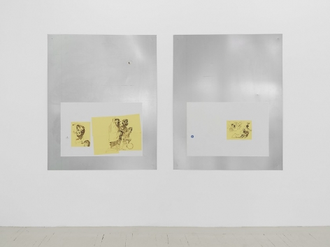 An installation view of 2 aluminum panels hung on the wall, each of which host drawings by Jason Hirata of contorting figures in brown ink on yellow paper
